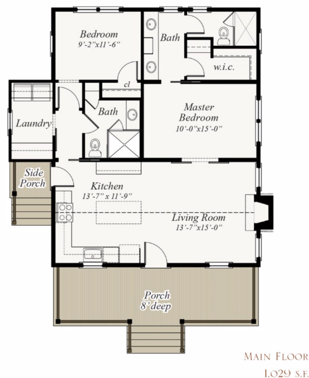 293 Carya Road House Plan By Our Town Plans Artfoodhome Com Small House Floor Plans Cabin Floor Plans Tiny House Floor Plans