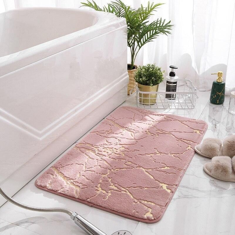Photo of Non-Slip Mat in The Bathroom Faux Fur Rabbit Bath Mat Absorbent Shower Bathroom Carpets Soft Tolite Floor Rug WC Mat Home Decor – Pink Bath Mat / 40x60cm
