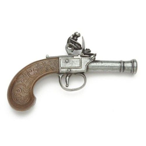 Gentlemen's Pocket Flintlock Pistol is at www.replica-blankguns.com.  This Gentleman's Pocket Flintlock Pistol was originally crafted by Bunney of London circa 1770. The Flintlock Gentleman's Pocket Pistol's smaller design allowed it to be more readily concealed than its larger and more cumbersome flintlock brethren. The Pocket Gentleman's Flintlock Pistol has an embossed dark wood grip and time honored appearance.