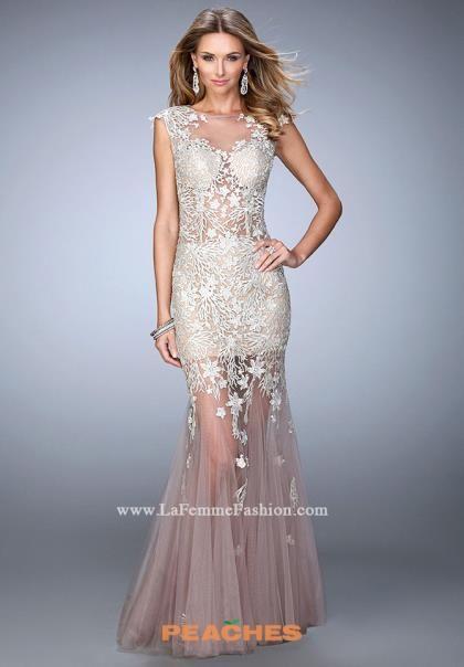La Femme Applique Fitted Dress 21565
