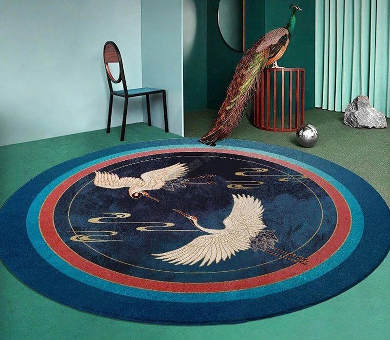 tapis rond bleu et or design japonais