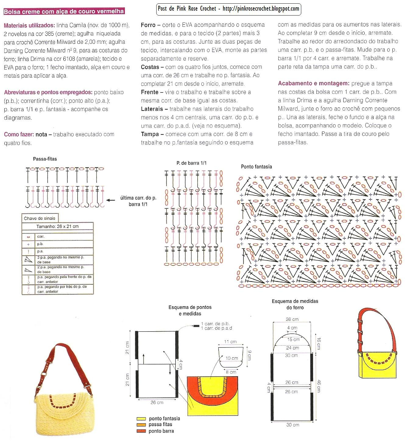 Crochet Bag Drawstring Pattern : Free Crochet Purse Pattern/Diagram...translate. bolsos ...
