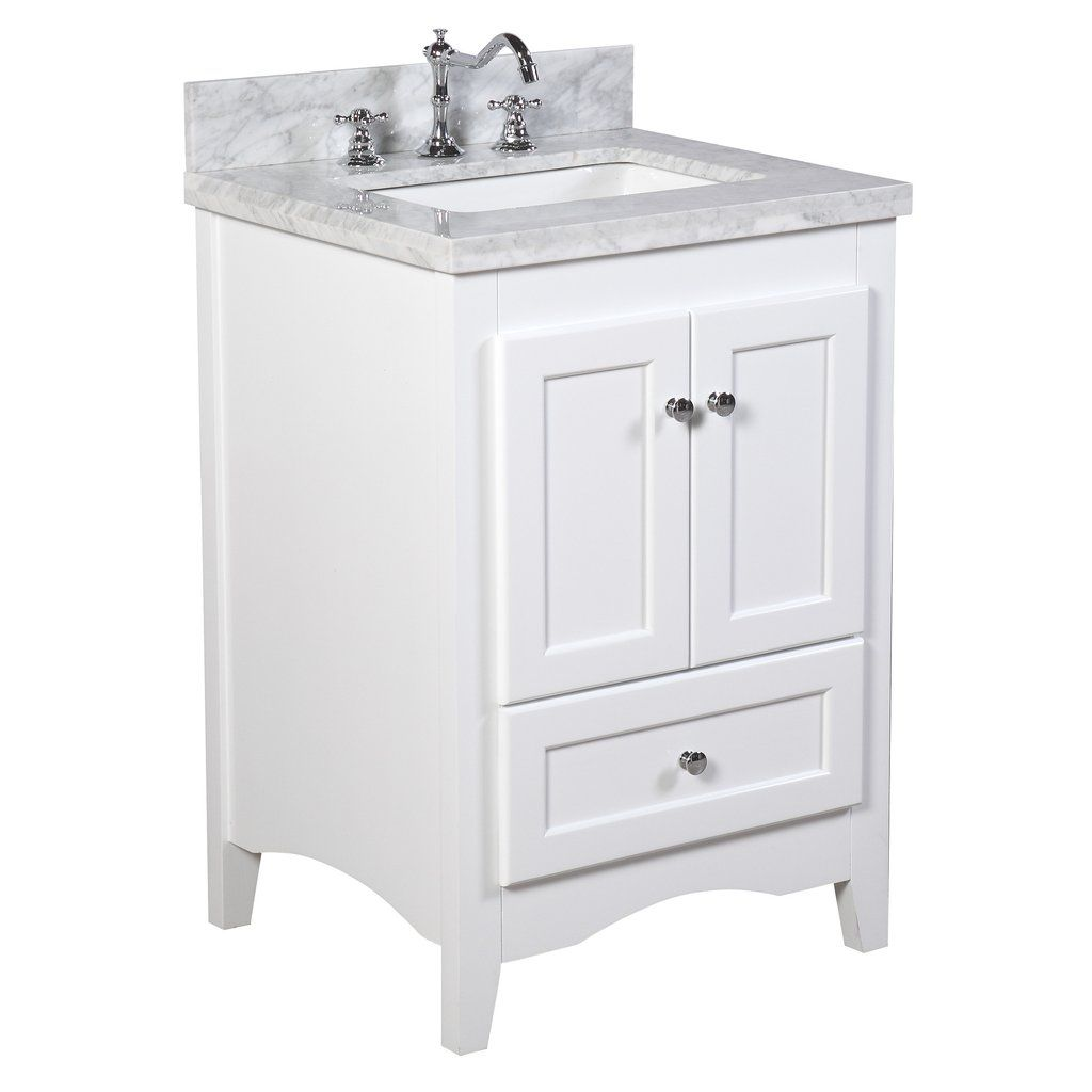 Abbey 24 Inch Vanity With Carrara Marble Top White Vanity