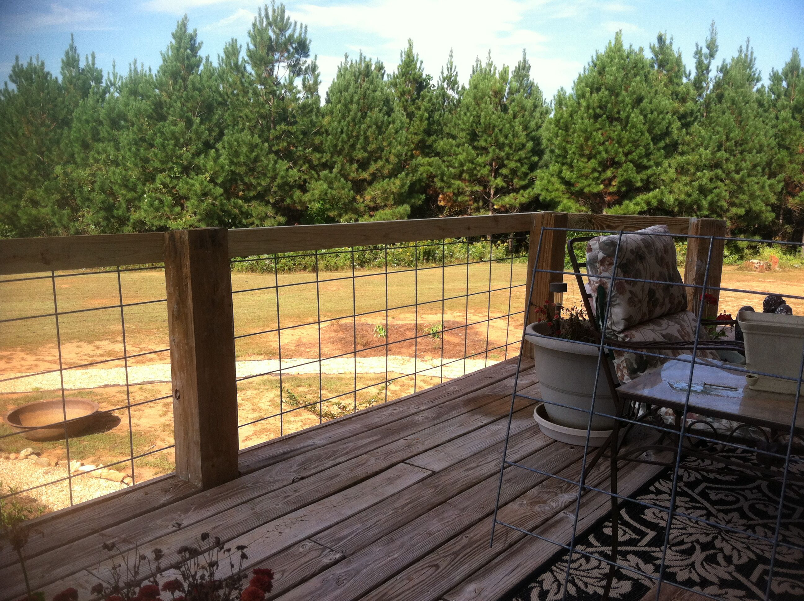 Our new deck railing with cattle panels. | Outside | Pinterest ...