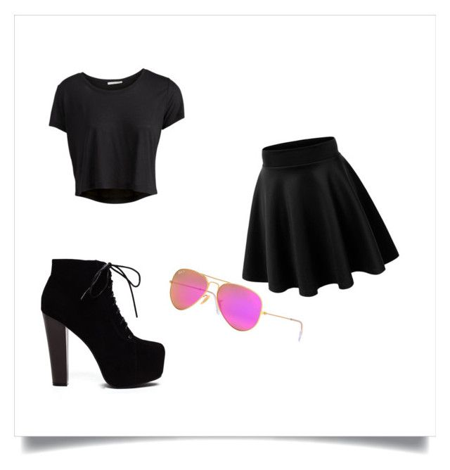 EPIC! by loveit9090 on Polyvore featuring Pieces and Ray-Ban