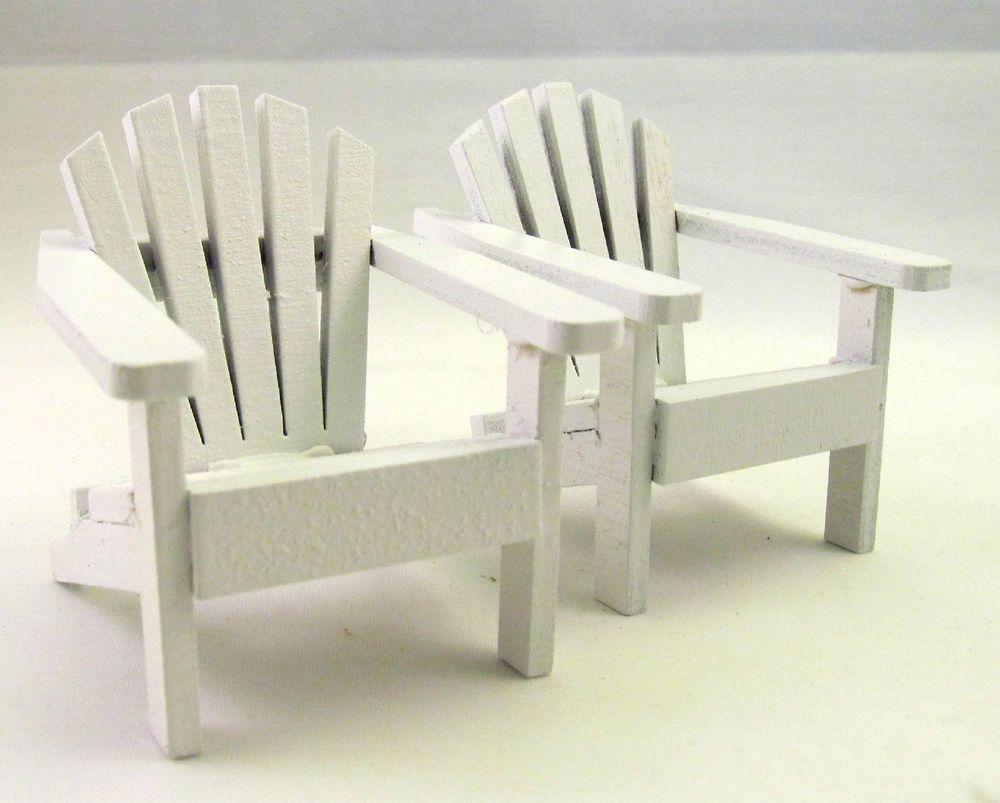 Set Of 2 Mini Wooden Adirondack Chair Fairy Garden Cake