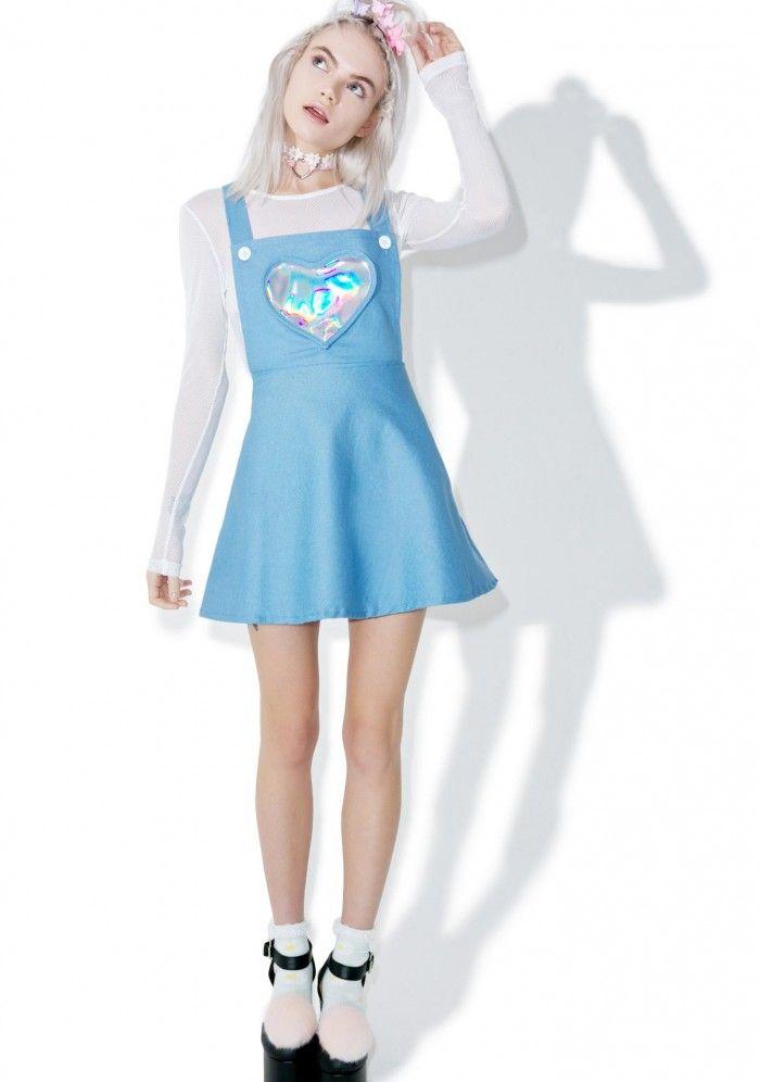 7fa0644e1e1 Denim Electra Heart Overall Dress Holographic Dress