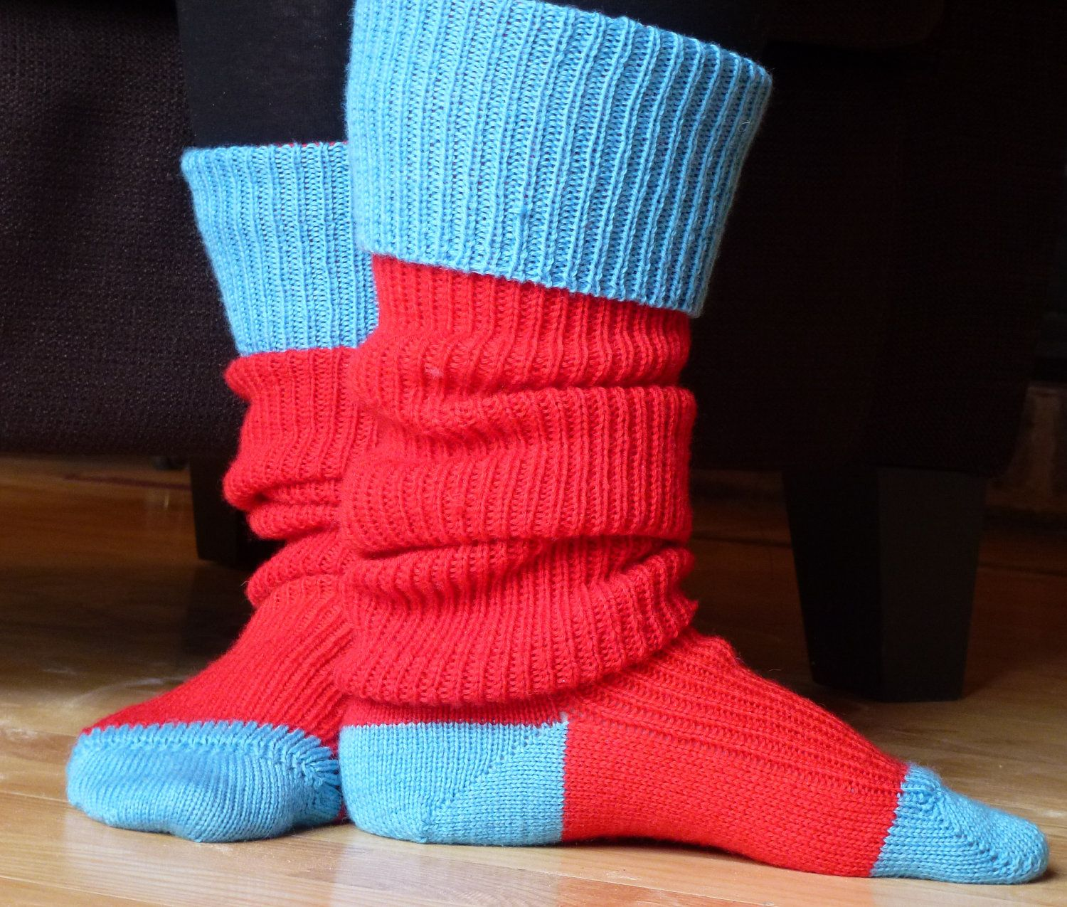 fe9d4880a12 Thigh high - KNITTED WOOL SOCKS - Better than leg warmers - extra long -  25cm foot - Tomatoe red with sky blue trimming.. £30.00