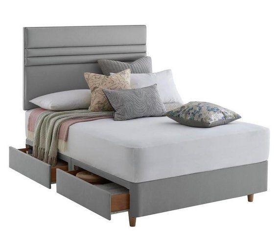 huge discount 3c945 b5547 Silentnight Roma 4 Drawer Double Divan & Headboard - Grey ...