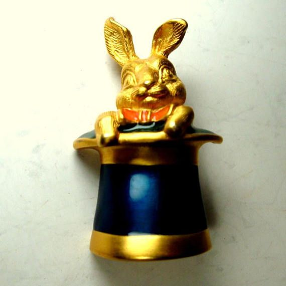 Magic Rabbit In The Hat Trick Pin 1990s Magicians Trick Etsy The Magicians Magic Vintage Brooches