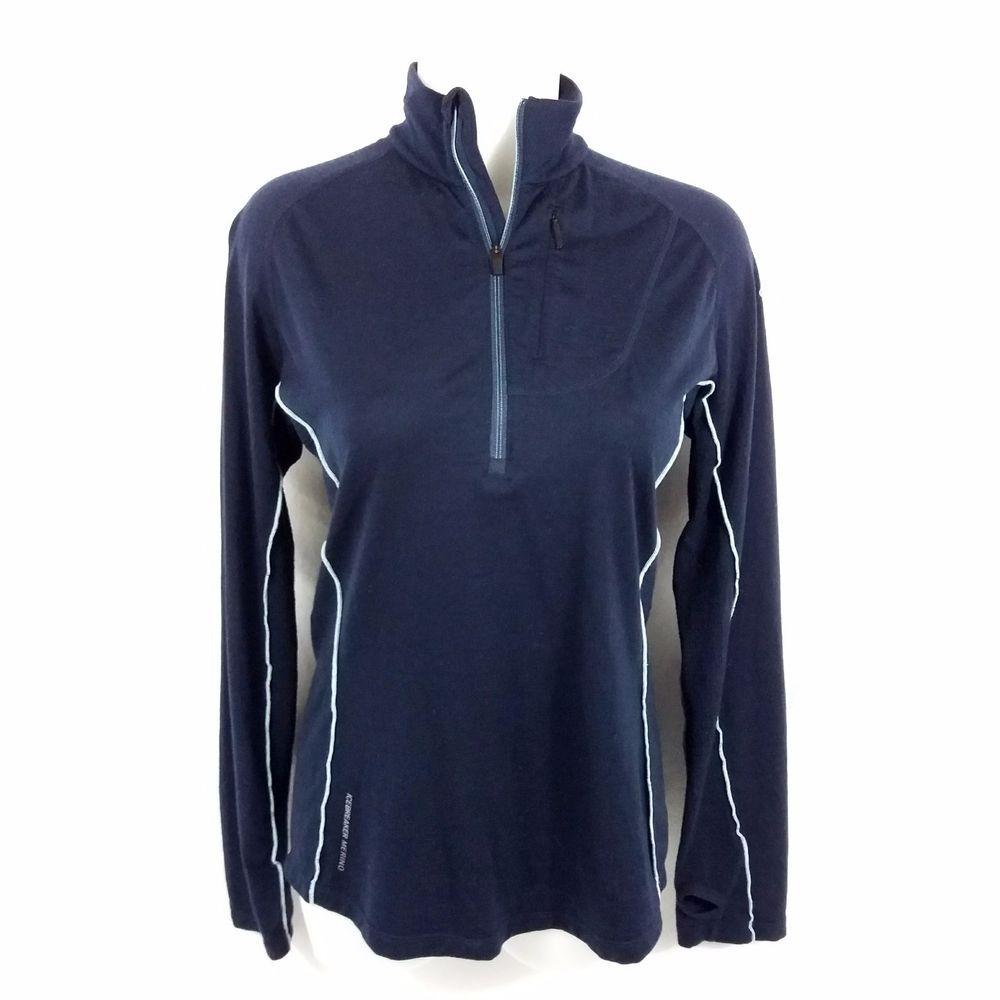 Ice Breaker Merino Gt Half Zip Pullover Shirt Medium Navy Base Layer Thumb Holes Icebreaker Baselayers Half Zip Pullover Pullover Shirt Fashion