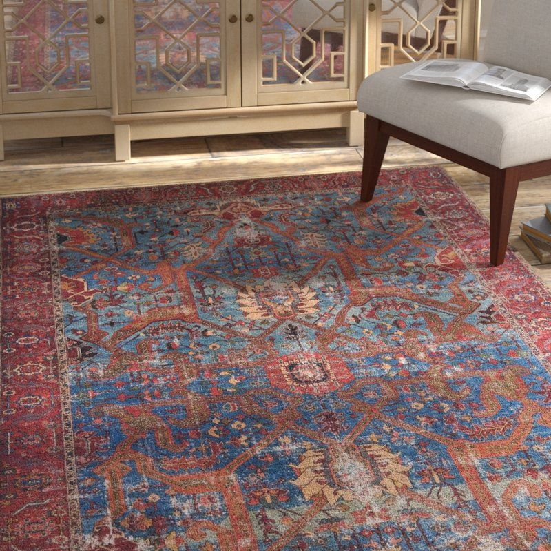Raul Persian Inspired Blue Red Area Rug With Images Purple
