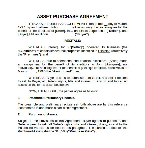 asset purchase agreement template before after Pinterest