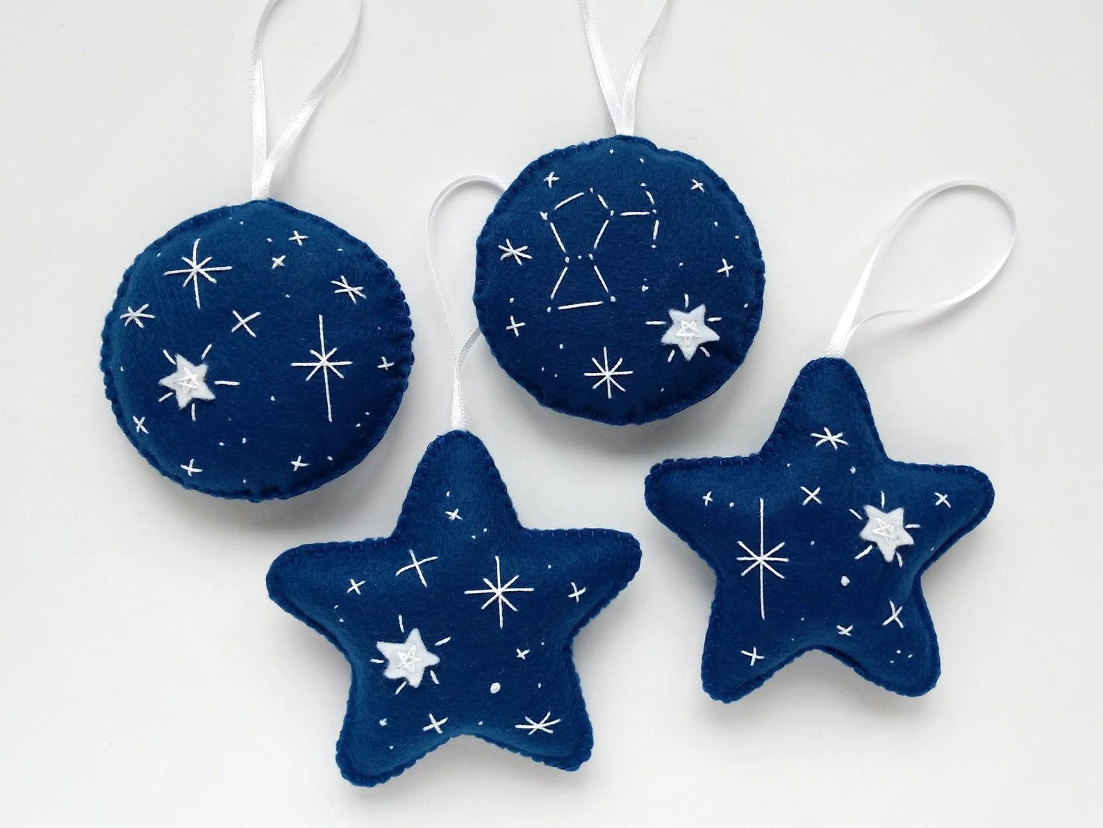 Blue Felt Ornaments With Embroidered Stars Orion Etsy Felt Ornaments Handmade Felt Ornament Felt Ornaments Patterns