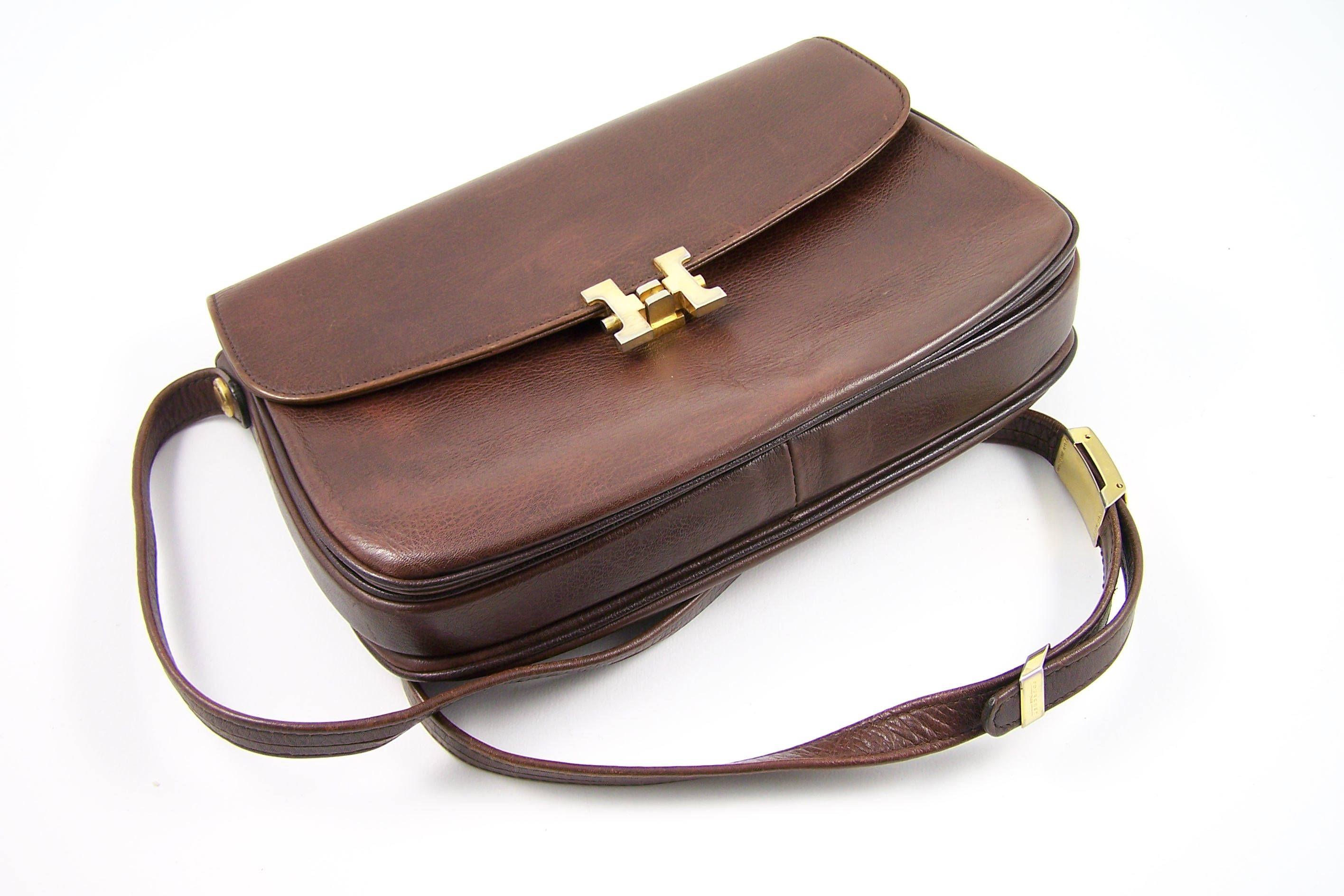 5882bf5e4051b Sac à main cuir marron Pourchet avec bandoulière réglable | Made in France  vintage de la boutique MyFrenchIdeedAntique sur Etsy