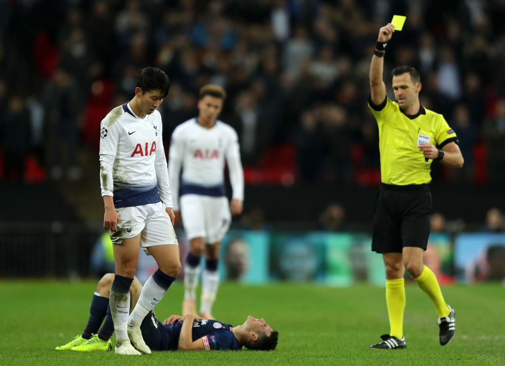 Heung Min Son Of Tottenham Hotspur Is Shown A Yellow Card By Referee Tottenham Hotspur Tottenham Uefa Champions League
