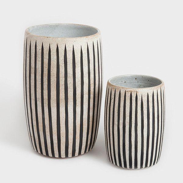 Stripe Stoneware Vase by Michele Quan