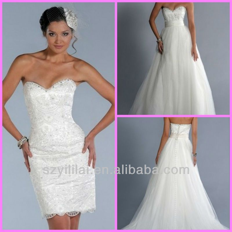Convertible Wedding Gown Detachable Skirt: 2012JYWD0239 Elegant Lace Convertible Wedding Dress With