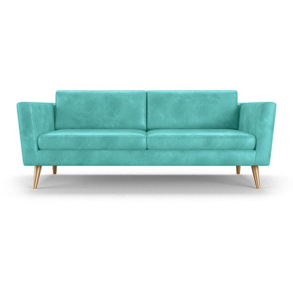deluna mid century modern blue leather loveseat liked on polyvore featuring home
