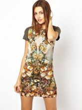 Beige Contrast Short Sleeve Floral Dress - Sheinside.com