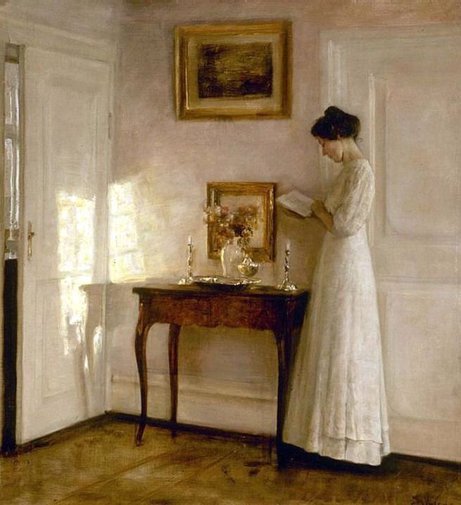 lady in an interior by carl vilhelm holsoe