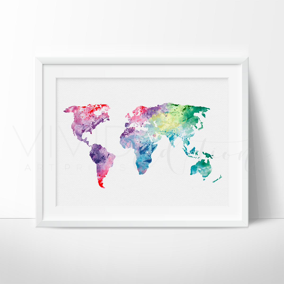 World map 1 watercolor art print cenas flor y arte world map watercolor art this art illustration is a composition of digital watercolor images and gumiabroncs Images