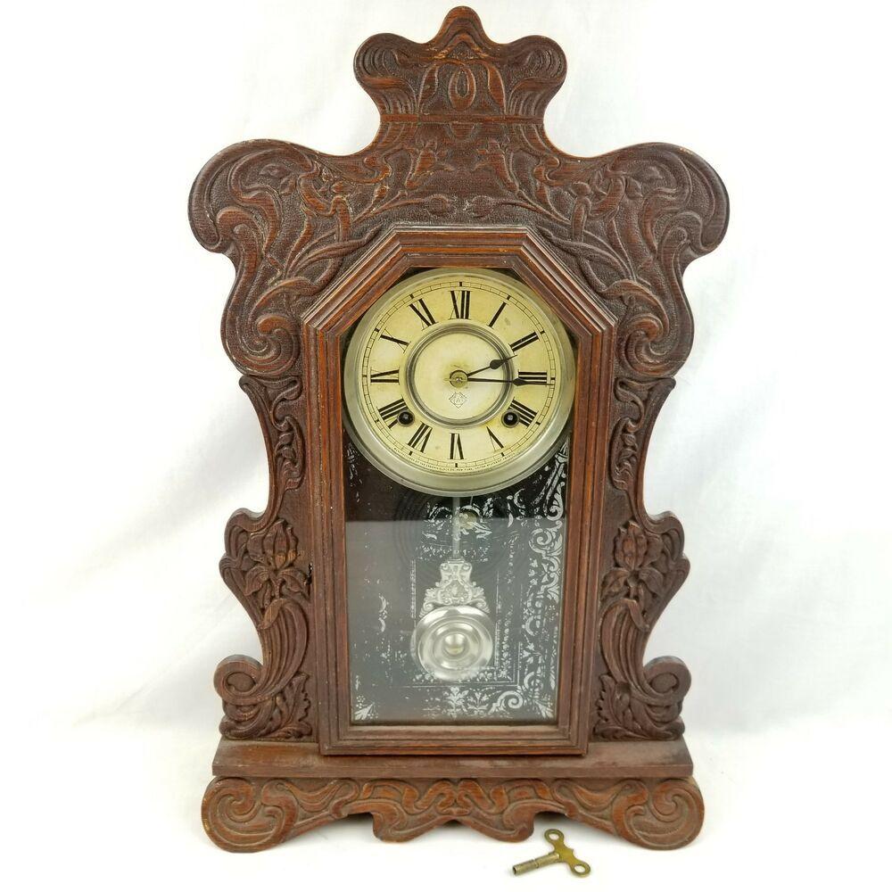 Vintage Antique Ansonia Aspen Mantle Shelf Oak Wood Clock Wind Up