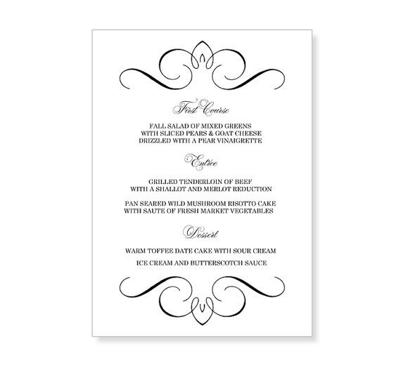 Wedding Menu Template Printable - Instant Download - For Word And