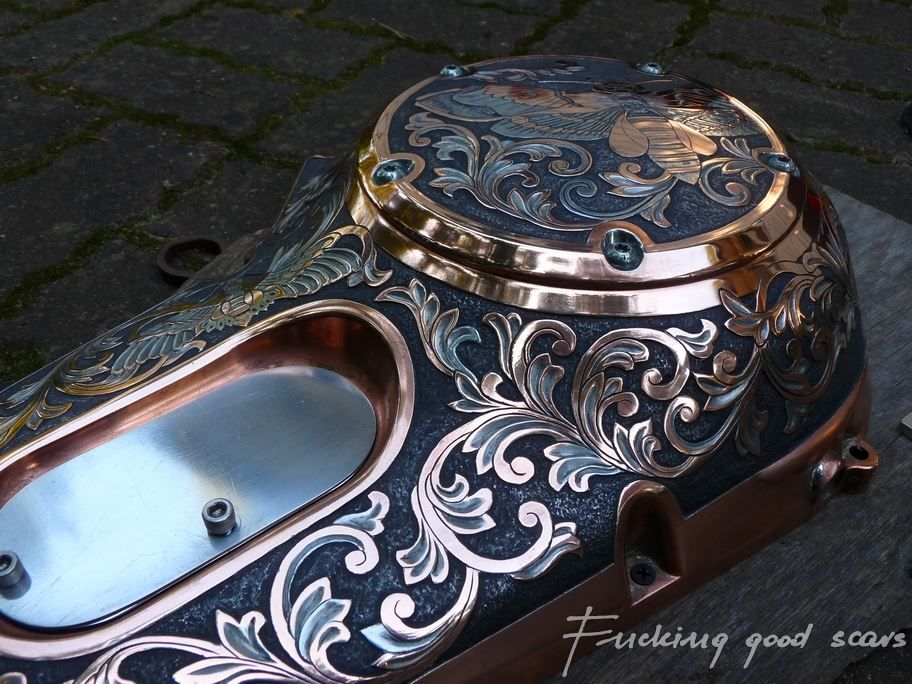 Chopper Primary Cover : Harley davidson hand engraved primary cover