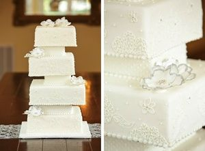 Stacked square wedding cake  | Edible Art Bakery & Dessert Cafe, Raleigh, NC. Raleigh Wedding Cakes. Sweet. Southern. Scratch-made. Since 1982.