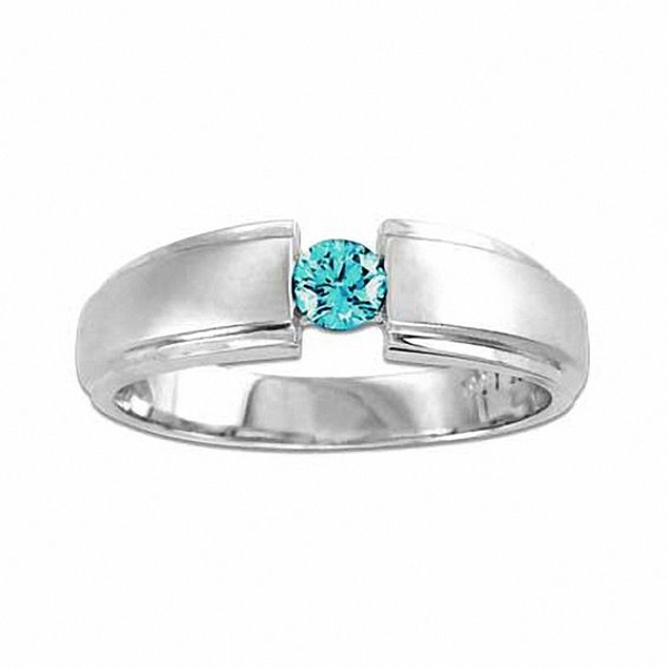Men S 1 4 Ct T W Enhanced Blue Diamond Wedding Band In 14k White Gold Diamond Wedding Bands White Gold Wedding Bands
