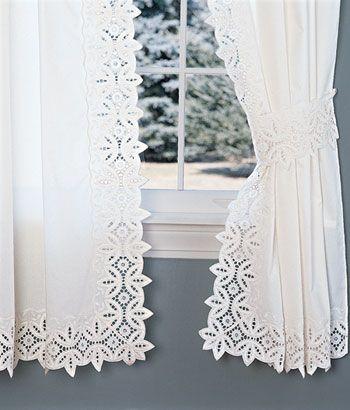 Rod Pocket Curtains Drapes Battenburg Lace Curtains Country Curtains Cortinas De Encaje Cortinas Bordadas Cortinas Visillos