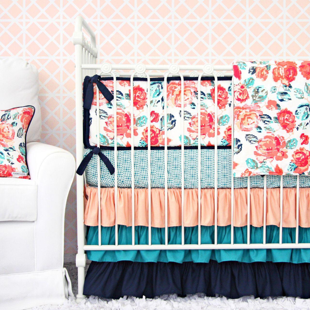 Peach Crib Protector Bedding Set Summer Grove Ii Collection