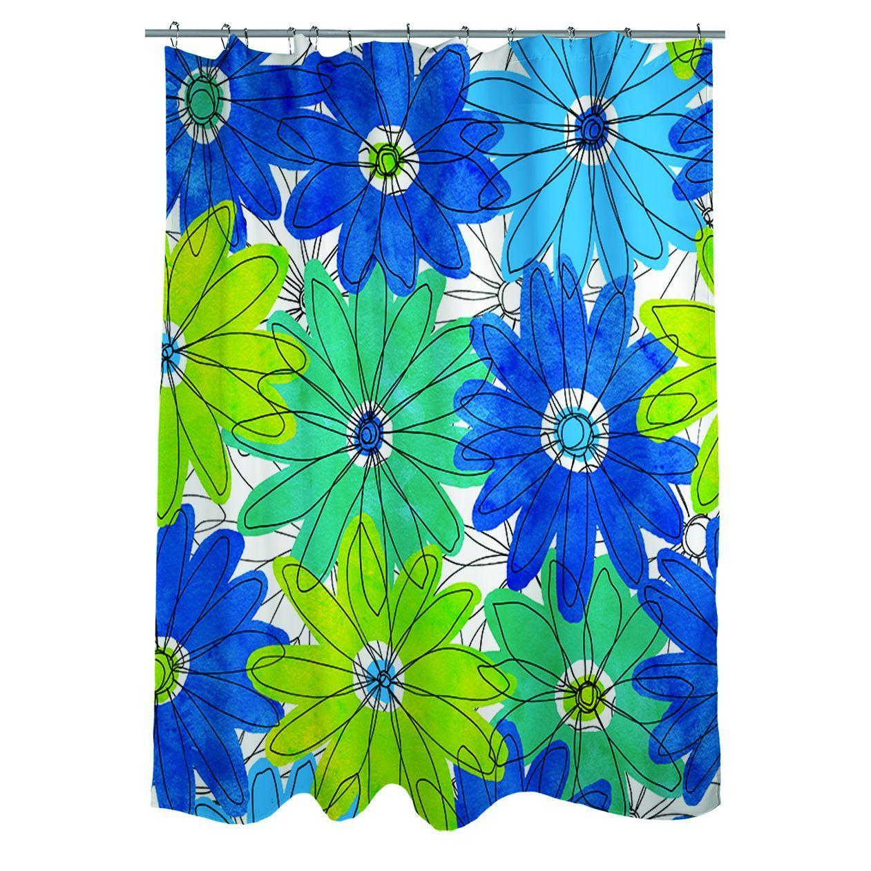 Thumbprintz Funky Florals Daisy Royal Blue Shower Curtain | Florals ...