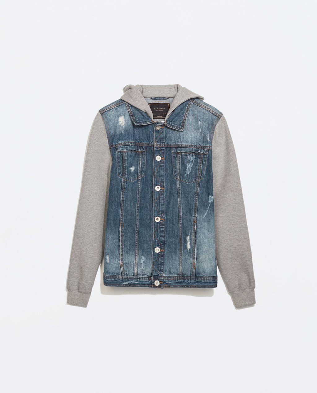 Zara Man Denim Jacket With Fleece Sleeves Denim Hoodie Denim Jacket Men Blue Denim Jacket [ 1269 x 1024 Pixel ]