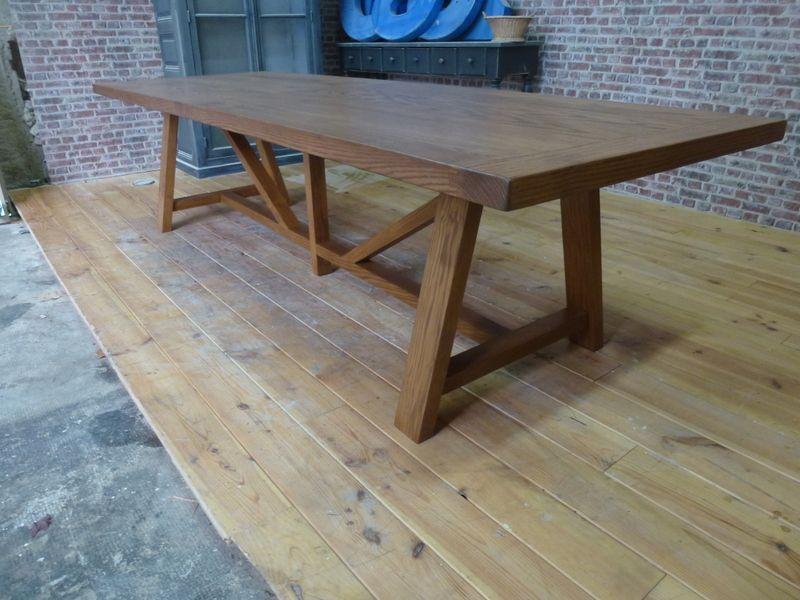 Table De Ferme Pieds Treteaux En Chene Massif Deco Mobilier Sur Mesure Table De Coupe Salle A Manger Bois Table En Chene Grande Table De Salle A Manger