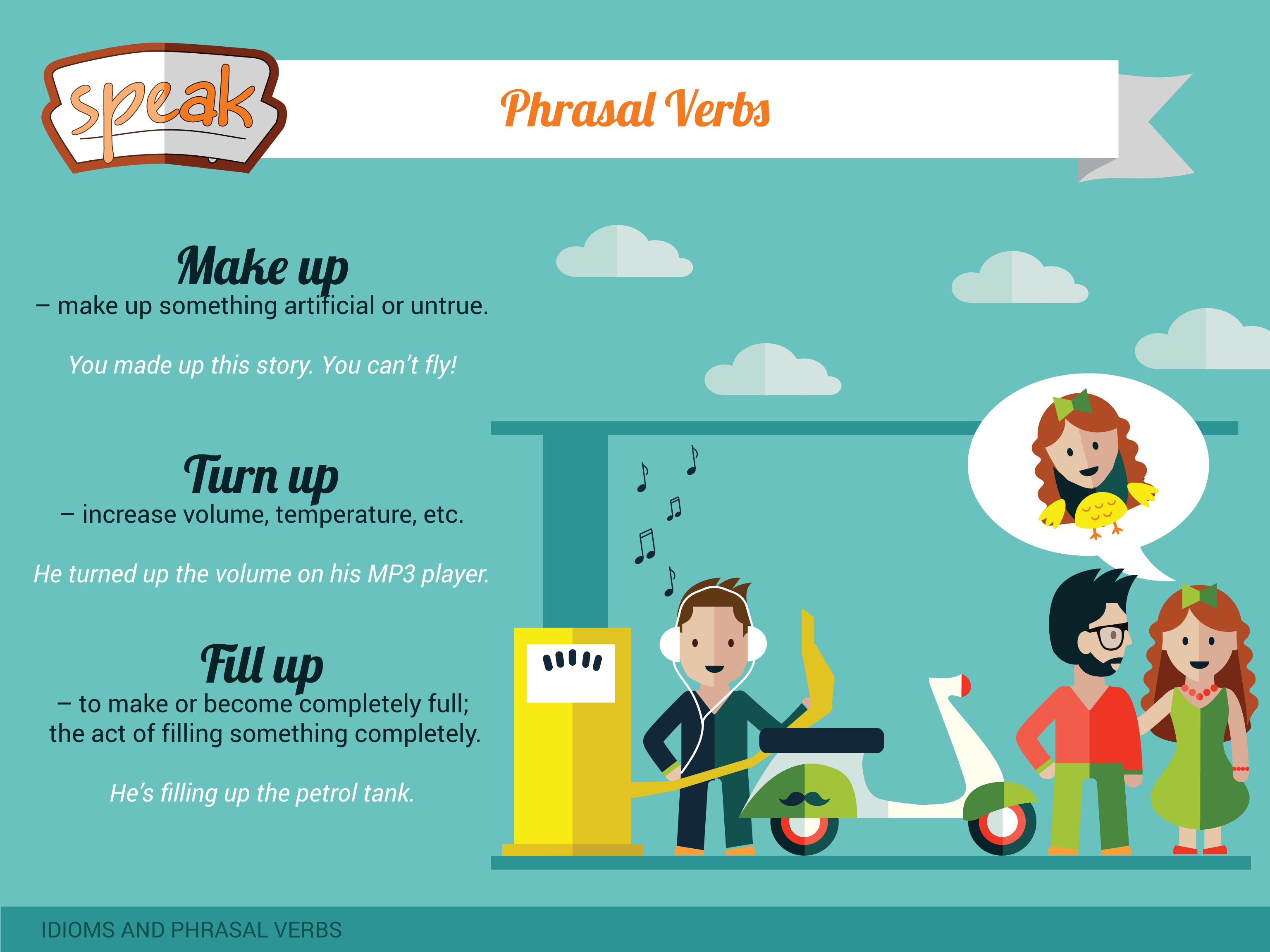 Learn New Phrasal Verbs Make Up Turn Up Fill Up