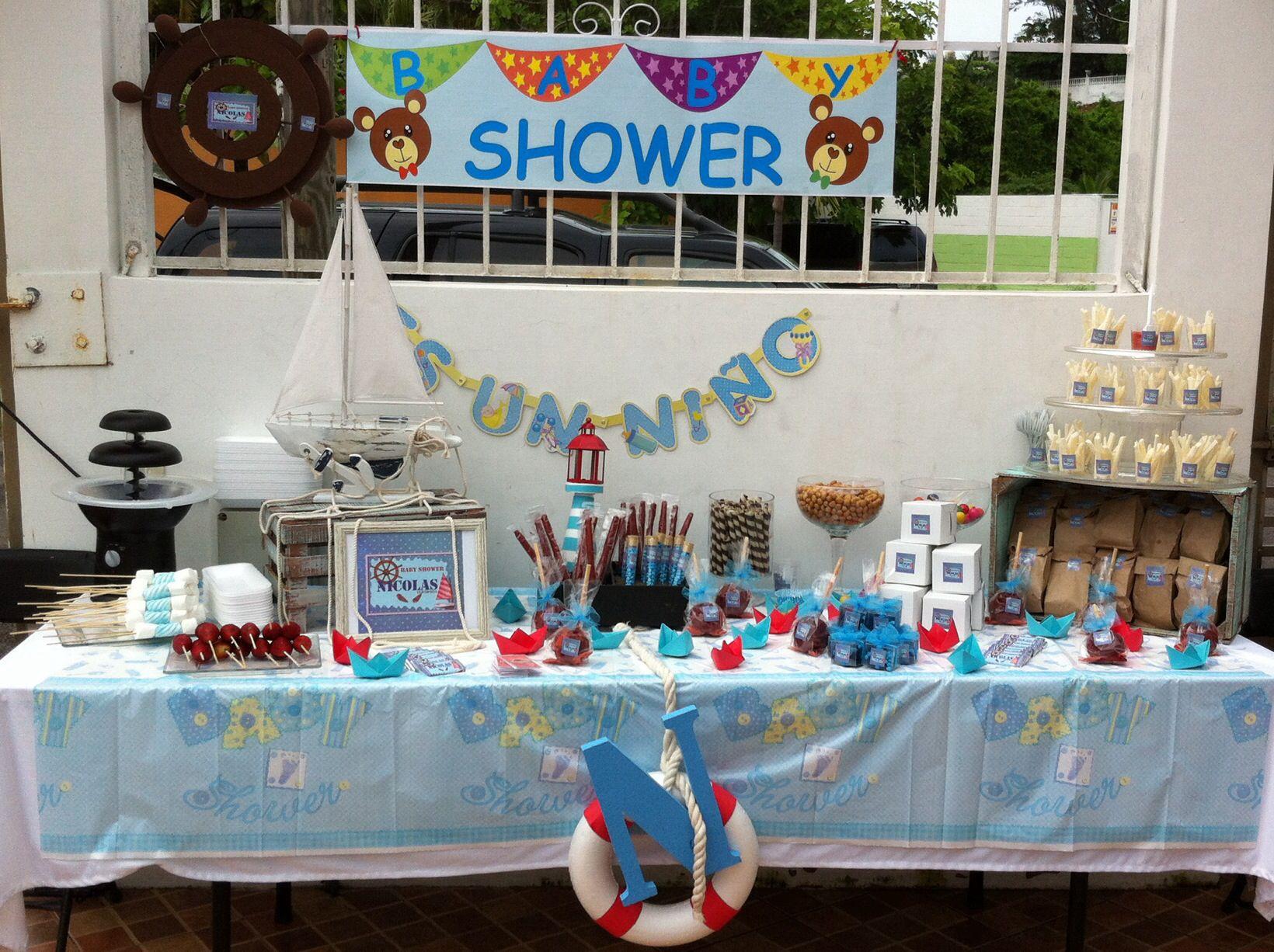 mesa de dulces baby shower tema marinero mesas de dulces pinterest