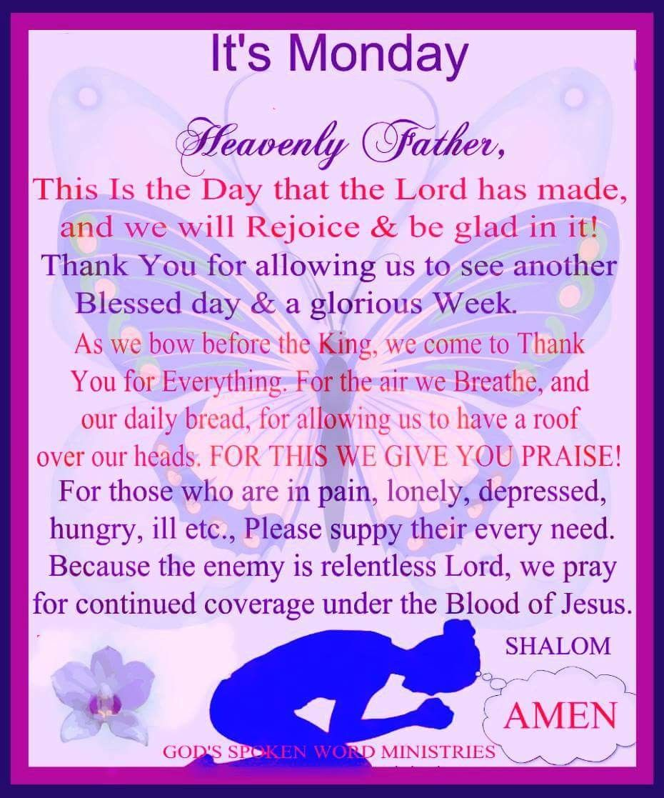 Monday Blessings! Everyday prayers, Prayer for today