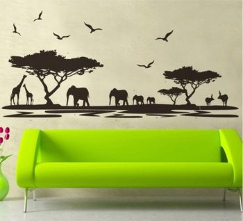 Large Cm Black Africa Grasslands Wall Sticker Decal Tree - Wall decals animalsafrican savannah wall sticker decoration great trees with