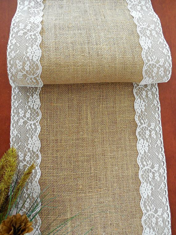 Burlap table runner wedding table runner with vintage ivory lace rustic romantic wedding reception table linens bridal shower baby shower & Hey I found this really awesome Etsy listing at https://www.etsy ...