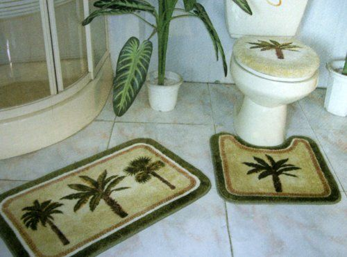 3 Pieces Tropical Green Palm Tree Bathroom Bath Mat Rug Set By