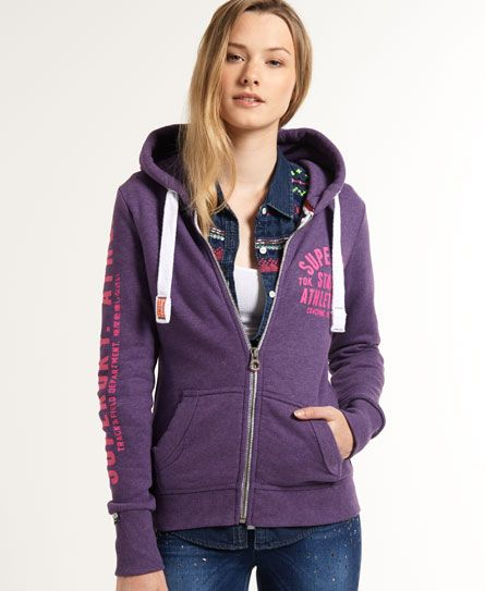 Shop Superdry Womens Track & Field Zip Hoodie in Polo Purple Marl. Buy now  with free delivery from the Official Superdry Store.