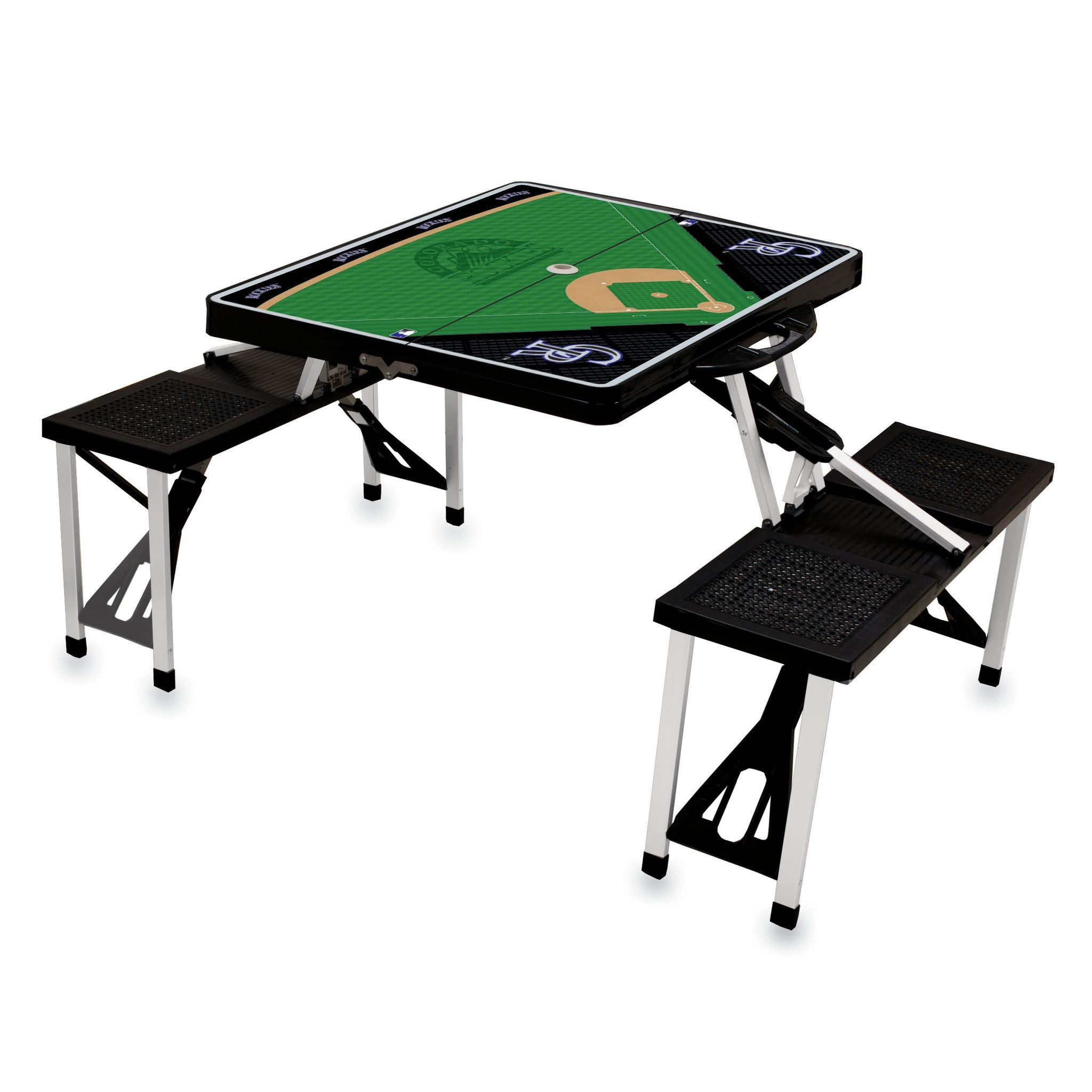 Colorado rockies portable picnic table with folding bench seats and colorado rockies portable picnic table with folding bench seats and baseball field graphics on the table watchthetrailerfo