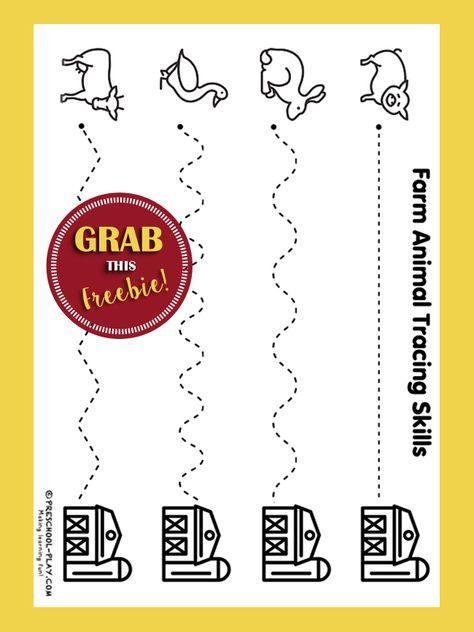 Free Farm Animal Tracing Skills Sheet Farm Animals Farm Preschool Farm Theme Preschool Preschool farm theme worksheets