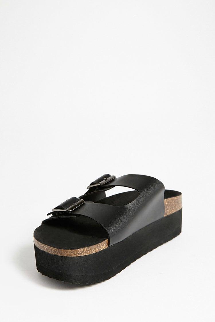 76af61b3571a Faux Leather Platform Slide Sandals