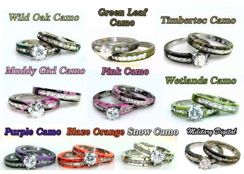 All The Colors Of Our Camo Rings Camo Wedding Rings Camo