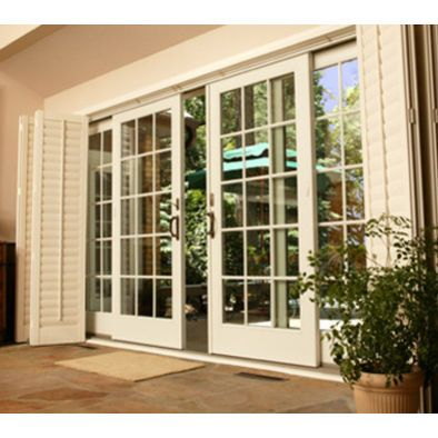 Sliding French door with plantation shutter for blinds