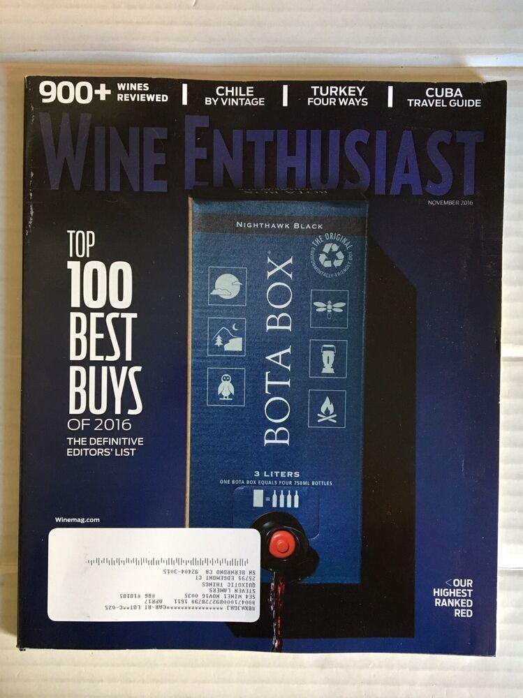 Wine Enthusiast Magazine Top 100 Best Buys Of 2016 November 2016