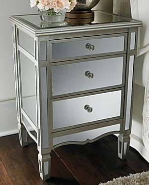 Pottery Barn Park Mirrored Bedside Table Mirror Bedside